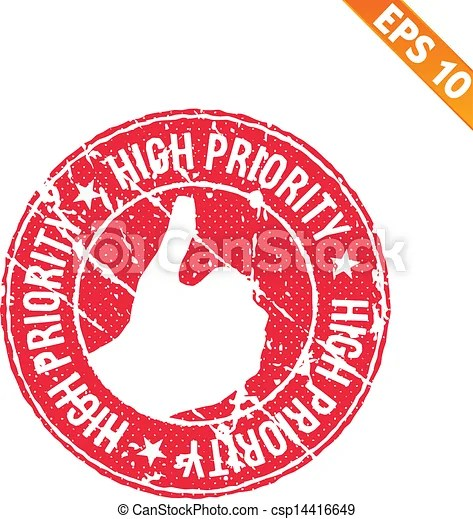 Rubber stamp high priority - vector illustration - eps10.