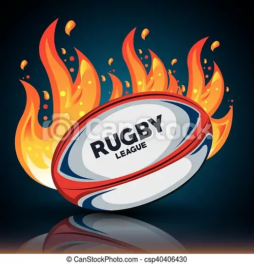 rugby ball with flames
