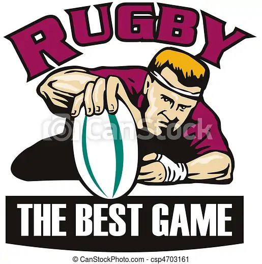 Rugby player ball try best game. Retro style illustration of a rugby player grounding the ball for a try viewed from the