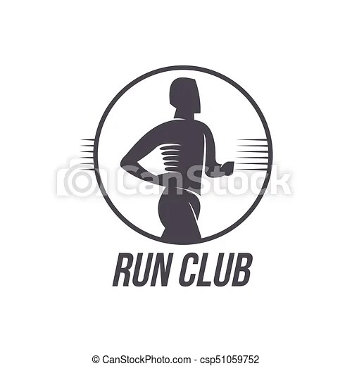 Run club logo, logotype template with jogging man, black