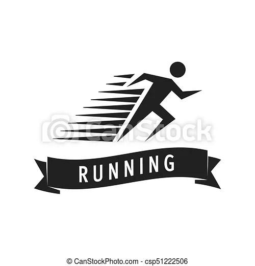Run man logo template. vector illustration of fast running