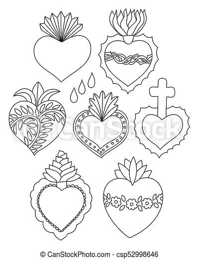 Sacred heart doodle vector set. Sacred heart vector set