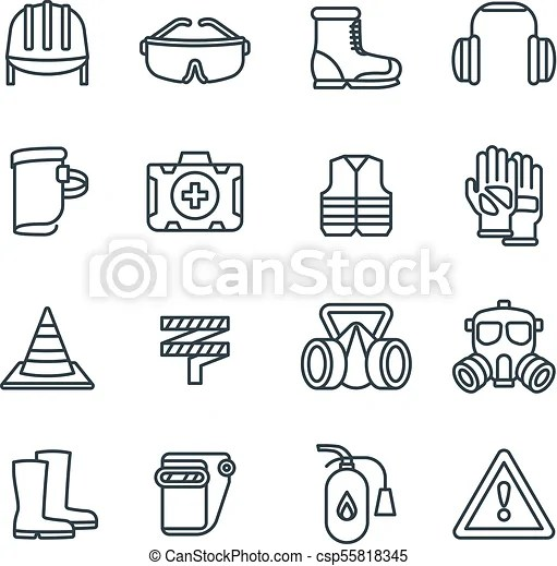 Safety work equipment and protective clothing line vector