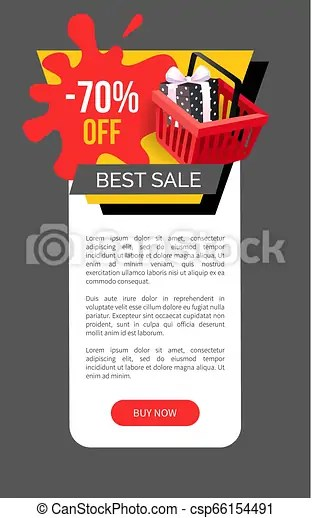 Sale 70 percent off webpage template shopping cart. Best sale 70 percent off web page sample with shopping cart. gift box wrapped in dotted paper ...