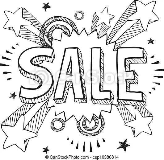 Sale icon sketch. Doodle style sale icon on retro pop