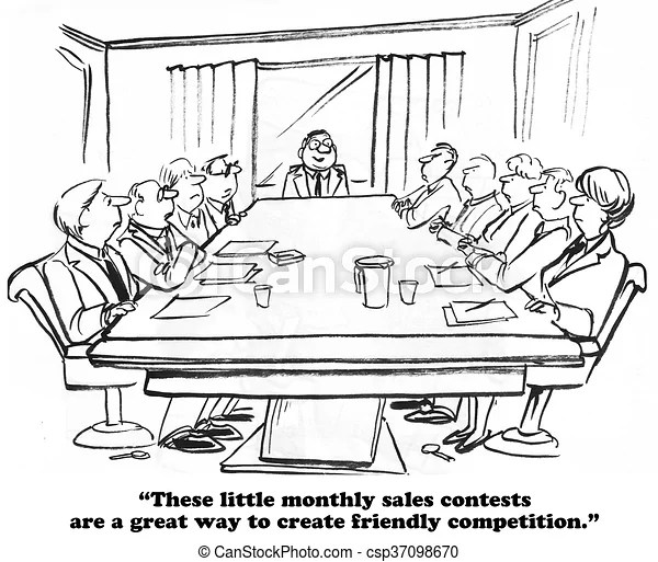 Sales contest. Business cartoon about a monthly sales contest.