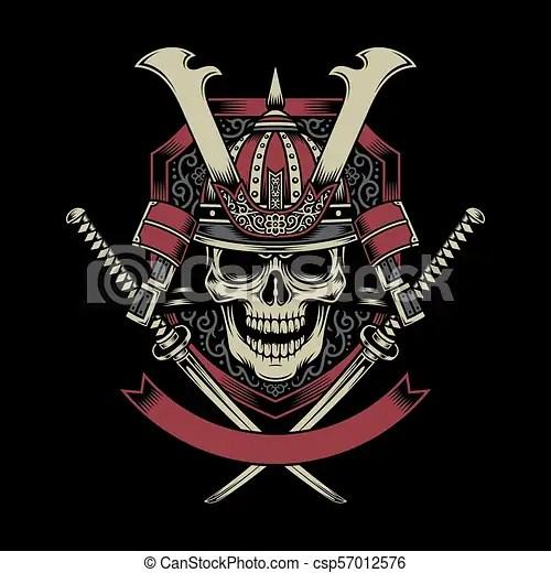 samurai warrior skull with