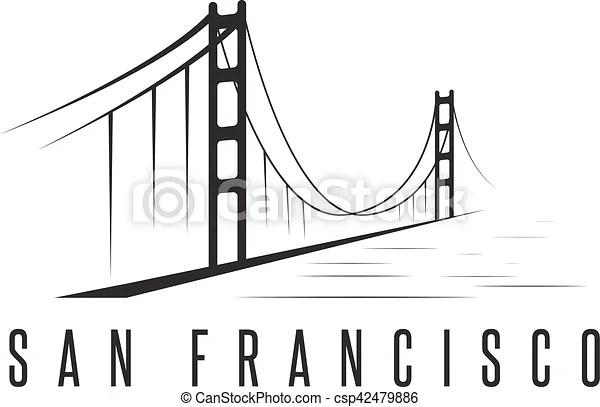 San francisco golden gate bridge vector design template