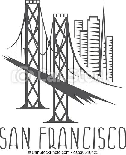 San francisco-oakland bay bridge and buildings vector