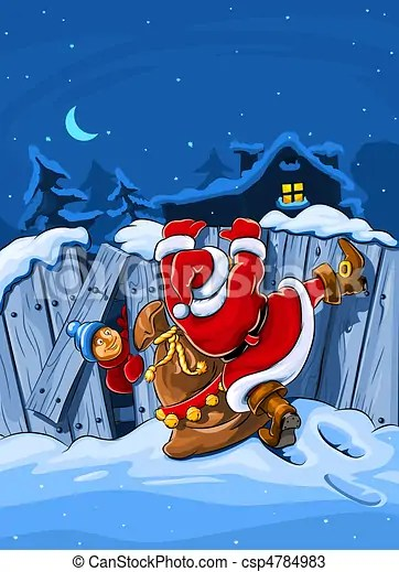 Wallpaper Falling Off Christmas Santa Claus With Sack Climbs Over Big Fence