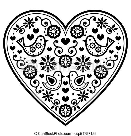 Scandinavian folk heart vector black pattern with flowers
