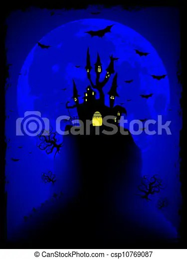 Scary halloween vector with magical abbey eps 8 vector file included