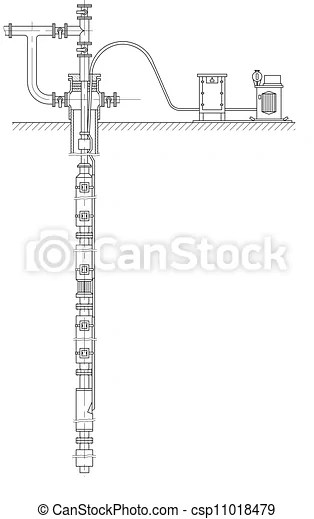 Sketch. schematic of an oil well. eps 10.