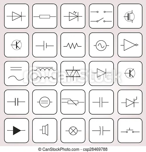 Schematic symbols in electrical engineering set eps10.