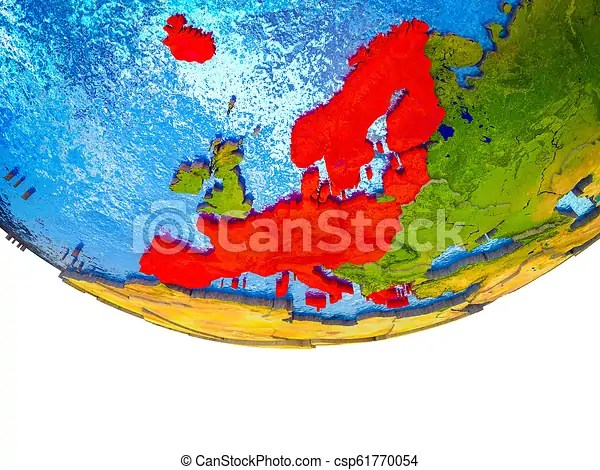 Schengen area members on 3d earth with divided countries and watery oceans. 3d illustration.