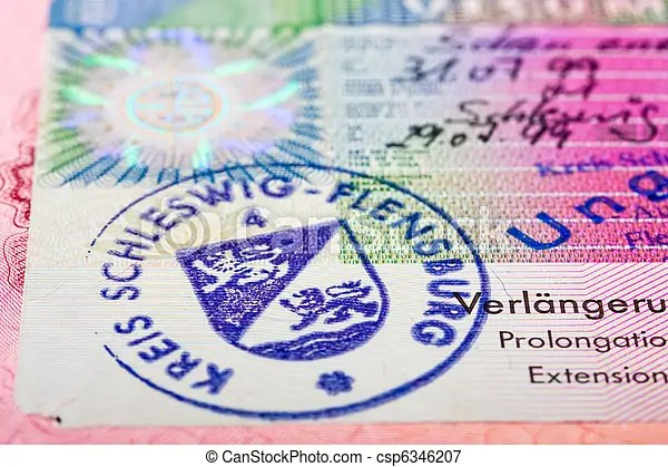 Schengen visa in passport. fragment.