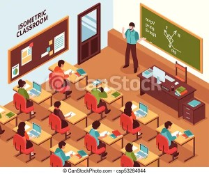 classroom vector students teacher poster isometric lesson listening desks clipart illustration illustrations icons cartoon chalkboard clip drawing drawings lecture graphicriver
