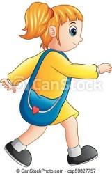 Vector illustration of school girl cartoon walking CanStock