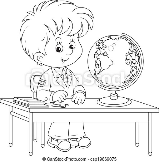 Schoolboy at geography lesson. Elementary school student