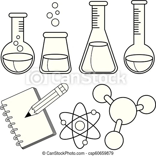 Science and chemistry set. vector black and white coloring