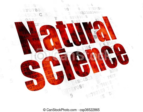 Science Concept Natural Science On Digital Background Science Concept Pixelated Red Text
