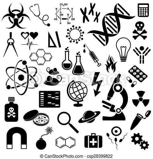Science icons collection. Black vector science icons