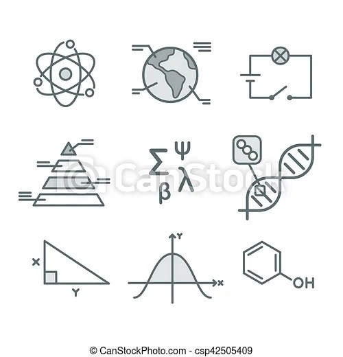 Science symbols set. mathematical functions, chemistry and