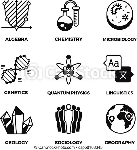 Science vector pictograms. genetics, algebra, chemistry