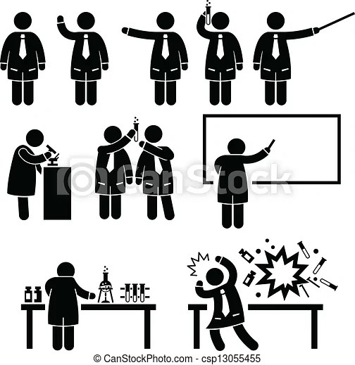 Scientist professor science lab. A set of pictograms