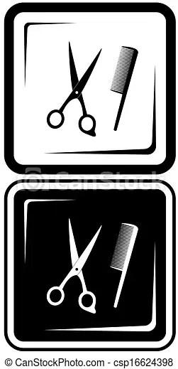 Scissors And Comb Clipart : scissors, clipart, Scissors, Comb., Salon, Vector, Symbols., CanStock