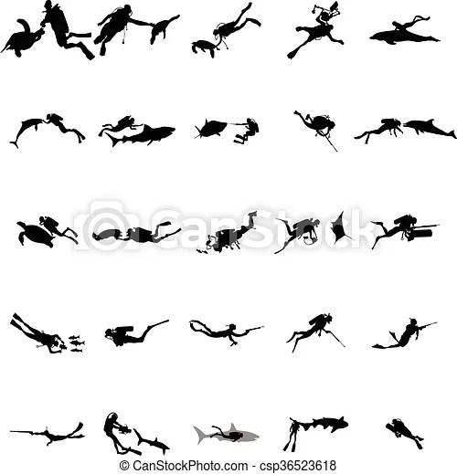 Scuba diver silhouette set, simple style . Scuba diver
