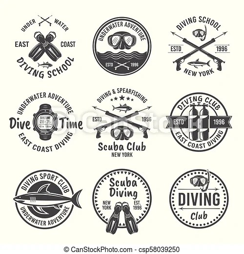 Scuba diving and spearfishing vector black emblems. Scuba