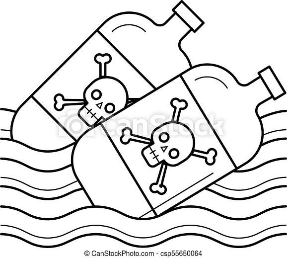 Sea pollution vector line icon. Sea pollution vector line