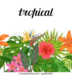 tropical background without plants seamless horizontal border flowers leaves backdrop clipart vector textile clipping mask easy wrapping paper clip