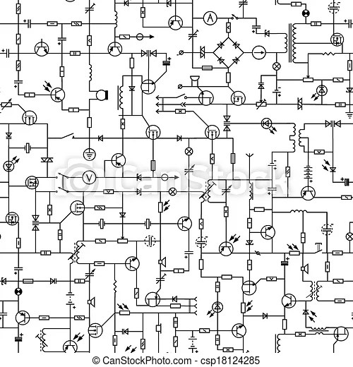 Seamless of electrical circuit. Vector seamless background