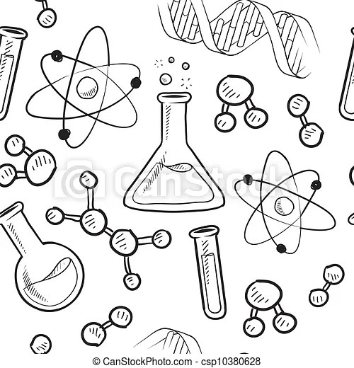 Seamless science background. Doodle style seamless science