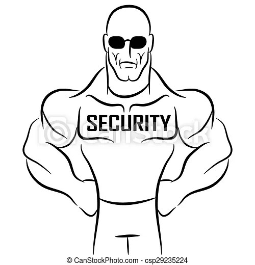 Security guard cartoon. An image of a security guard or