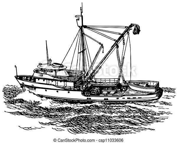 Seine boat at sea.