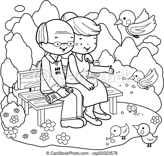 Senior couple at the park. coloring book page. An old man