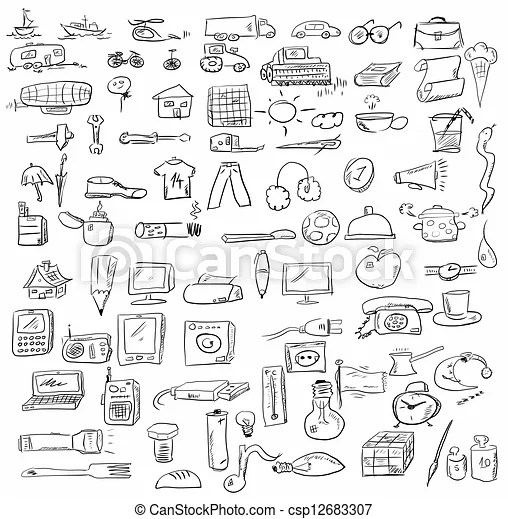 Set doodle objects business icons.