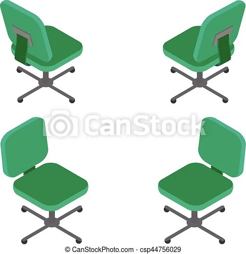 office chair illustration strongback set green on white background flat 3d isometric vector for infographics
