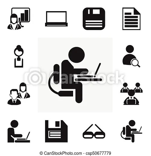 Set of 12 editable office icons. includes symbols such as