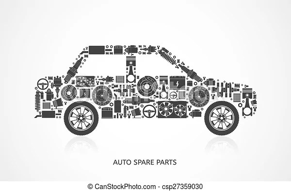 Vectors of Set of auto spare parts. Car repair icons in