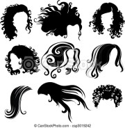 vector big set of black hair styling