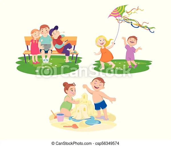 Set Of Children Who Rest On A Summer Vacation Set Of Cliparts Of Children Who Rest On A Summer Vacation Against A White