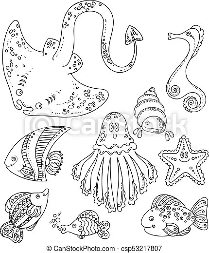 Set of cute doodle sea creatures. vector illustration