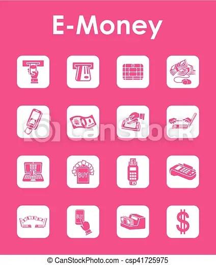 Logo E Money Vector : money, vector, E-money, Simple, Icons., CanStock