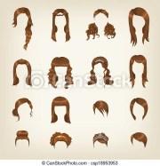 set of female brown hair