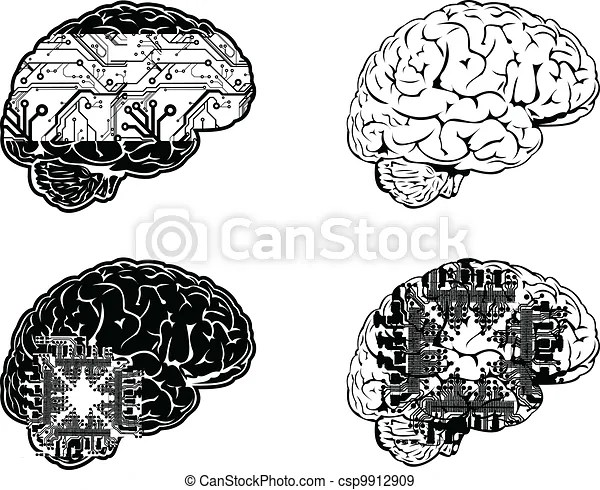 Set of four one color electronic brain side view.