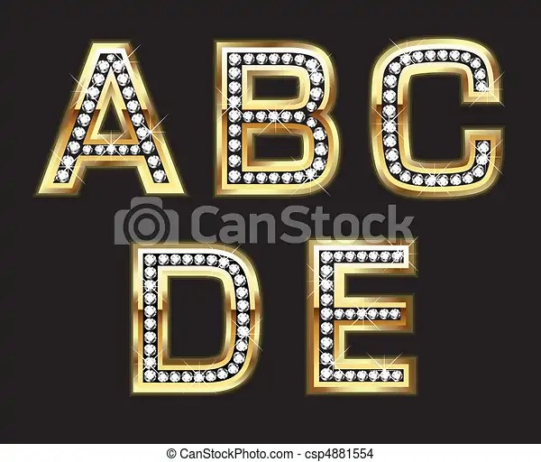 Set Of Gold And Diamond Letters Bling Style